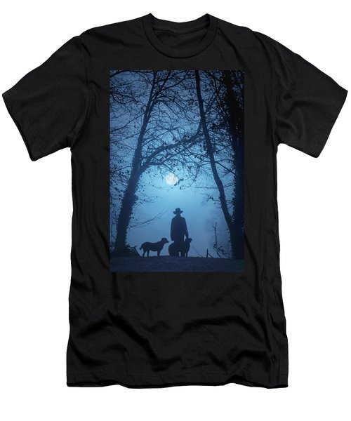 Shepherd And His Dogs Along The River Tamar Men's T-Shirt (Athletic Fit)