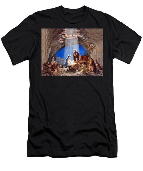 Shepherds Field Nativity Painting Men's T-Shirt (Athletic Fit)