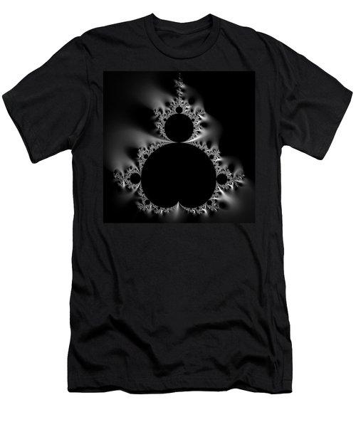 Shiny Cool Mandelbrot Set Black And White Men's T-Shirt (Athletic Fit)