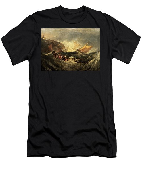 Men's T-Shirt (Slim Fit) featuring the painting Shipwreck Of The Minotaur by J M William Turner