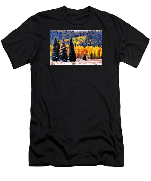 Men's T-Shirt (Slim Fit) featuring the photograph Shivering Pines In Autumn by Diane Alexander