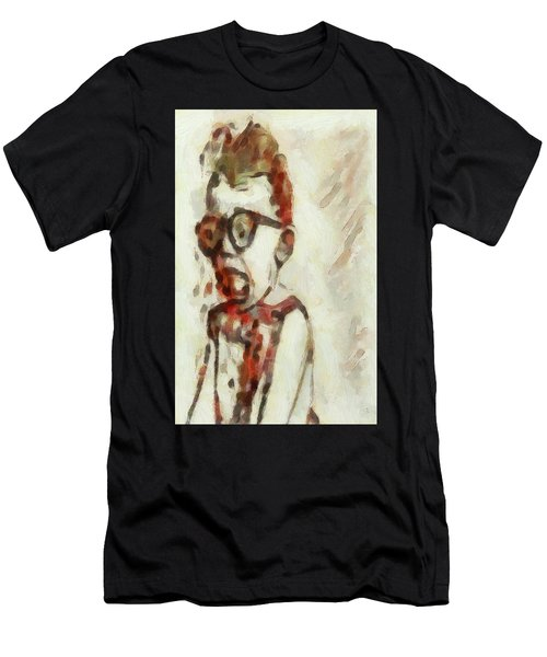 Shocked Scared Screaming Boy With Curly Red Hair In Glasses And Overalls In Acrylic Paint As A Loose Men's T-Shirt (Athletic Fit)