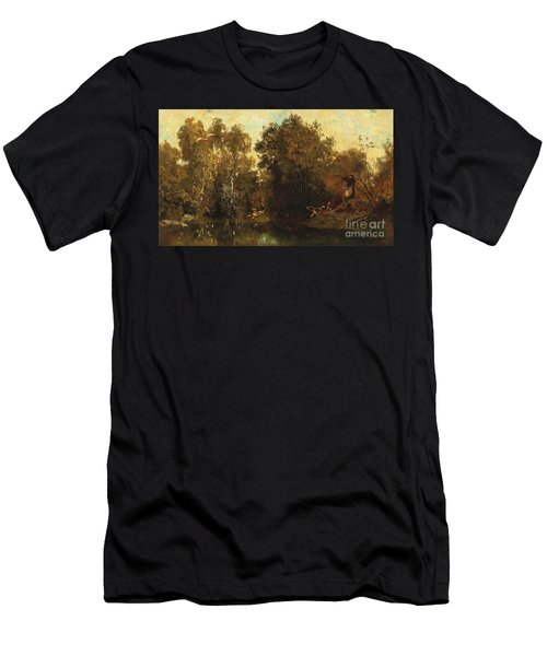 Shooting At A Woodland Pool Men's T-Shirt (Athletic Fit)