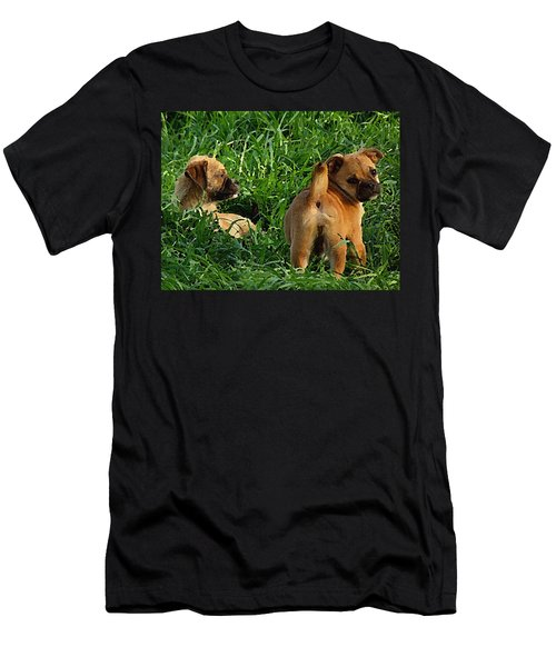 Showing Her Mutt. Men's T-Shirt (Athletic Fit)