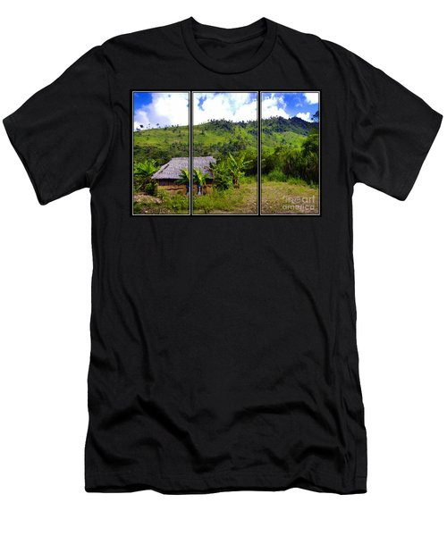 Men's T-Shirt (Slim Fit) featuring the photograph Shuar Hut In The Amazon by Al Bourassa