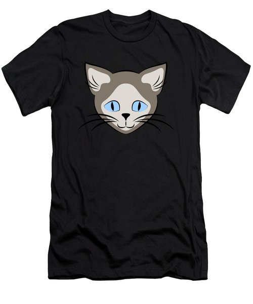 Siamese Cat Face With Blue Eyes Dark Men's T-Shirt (Athletic Fit)