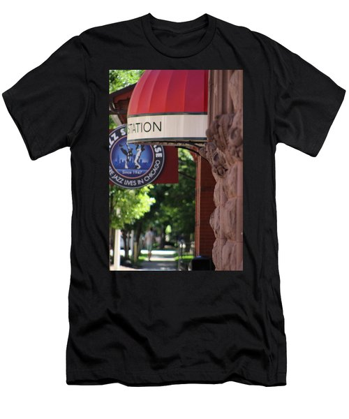 Sidewalk View Jazz Station  Men's T-Shirt (Athletic Fit)