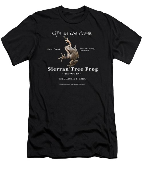 Sierran Tree Frog - Photo Frog, White Text Men's T-Shirt (Athletic Fit)