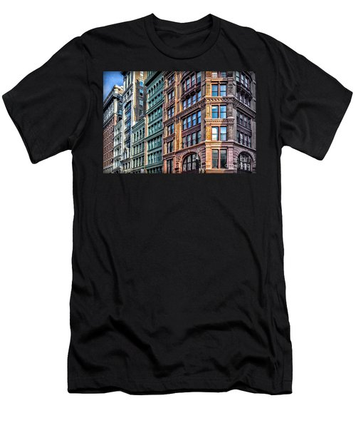 Men's T-Shirt (Slim Fit) featuring the photograph Sights In New York City - Colorful Buildings by Walt Foegelle