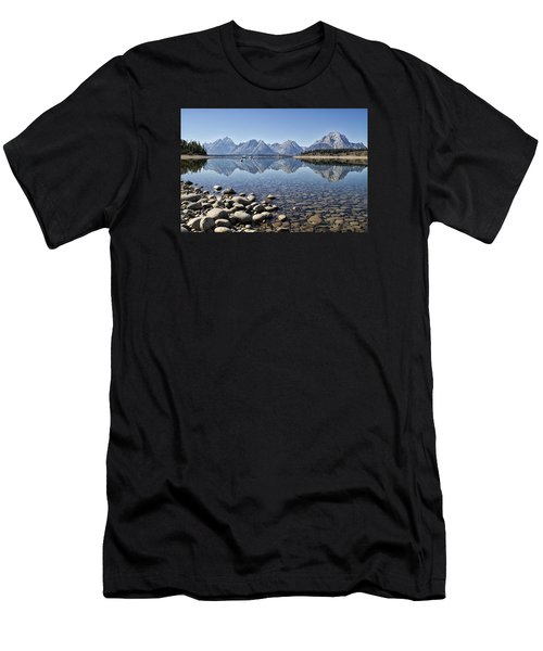 Men's T-Shirt (Slim Fit) featuring the photograph Jackson Lake  Near Signal Mountain Lodge by Shirley Mitchell