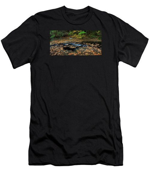 Silky New England Stream In Autum Men's T-Shirt (Athletic Fit)