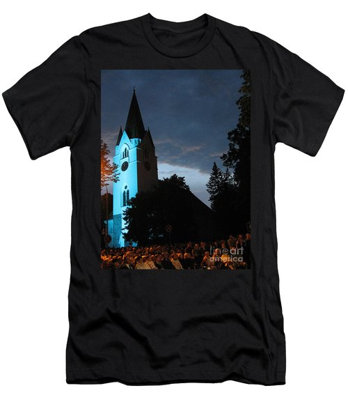 Men's T-Shirt (Athletic Fit) featuring the photograph Silute Lutheran Evangelic Church Lithuania by Ausra Huntington nee Paulauskaite