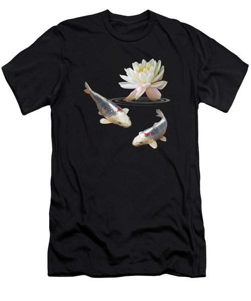 Silver And Red Koi With Water Lily Vertical Men's T-Shirt (Slim Fit) by Gill Billington