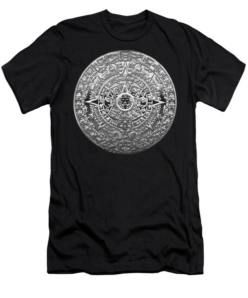 Silver Mayan-aztec Calendar On Black And Red Leather Men's T-Shirt (Athletic Fit)