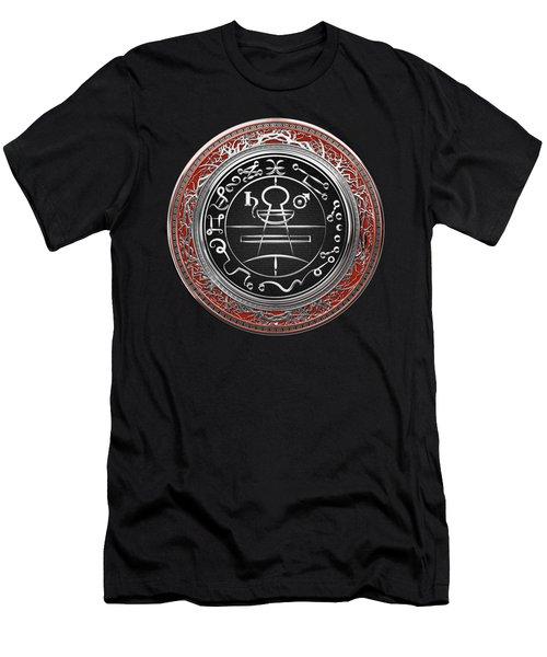 Silver Seal Of Solomon - Lesser Key Of Solomon On Red Velvet  Men's T-Shirt (Athletic Fit)