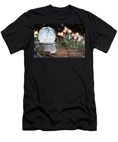 Silver Snow Globe With White Christmas Trees Men's T-Shirt (Slim Fit) by Stephanie Frey