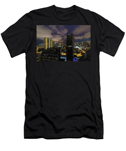 Singapore Cityscape On A Cloudy Night Men's T-Shirt (Athletic Fit)
