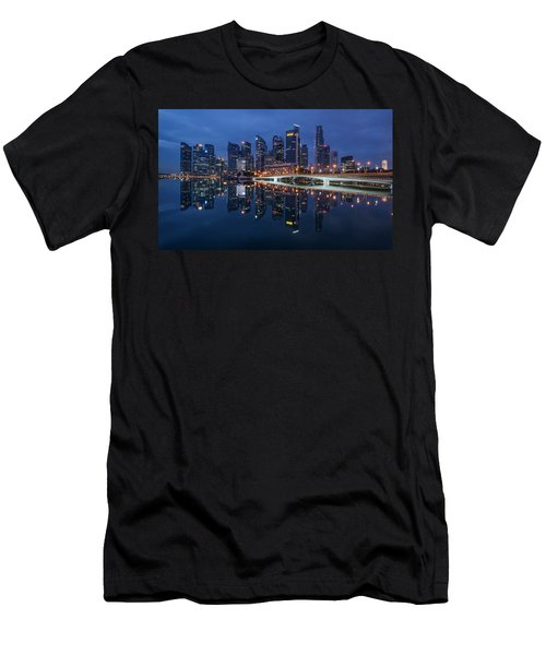 Men's T-Shirt (Athletic Fit) featuring the photograph Singapore Skyline Reflection by Pradeep Raja Prints