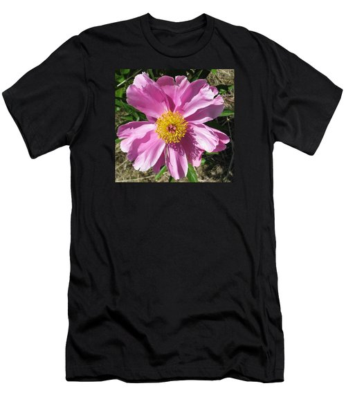 Single Pink Peony Men's T-Shirt (Athletic Fit)