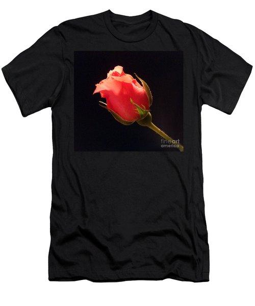 Single Pink Rose Bud Men's T-Shirt (Athletic Fit)