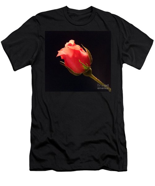 Single Pink Rose Bud Men's T-Shirt (Athletic Fit)