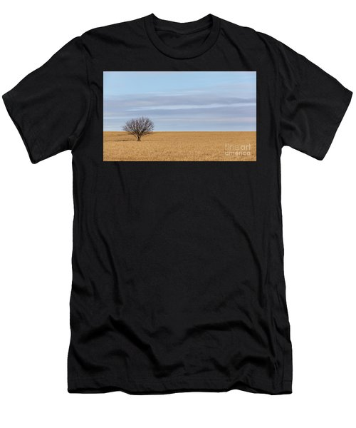 Single Tree In Large Field With Cloudy Skies Men's T-Shirt (Athletic Fit)