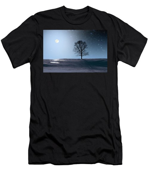 Single Tree In Moonlight Men's T-Shirt (Athletic Fit)