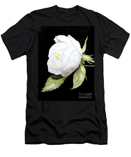 Single White  Bloom  Men's T-Shirt (Slim Fit) by Carol Grimes