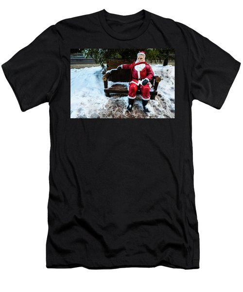 Men's T-Shirt (Athletic Fit) featuring the photograph Sit With Santa by Miles Whittingham