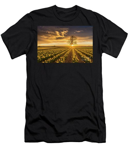 Men's T-Shirt (Slim Fit) featuring the photograph Skagit Valley Daffodils Sunset by Mike Reid