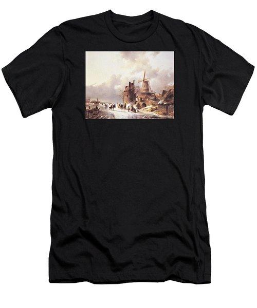 Skaters On A Frozen River Men's T-Shirt (Athletic Fit)