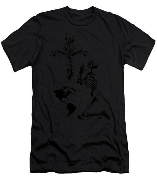 Skeleton Pryaing Cross Globe Men's T-Shirt (Athletic Fit)