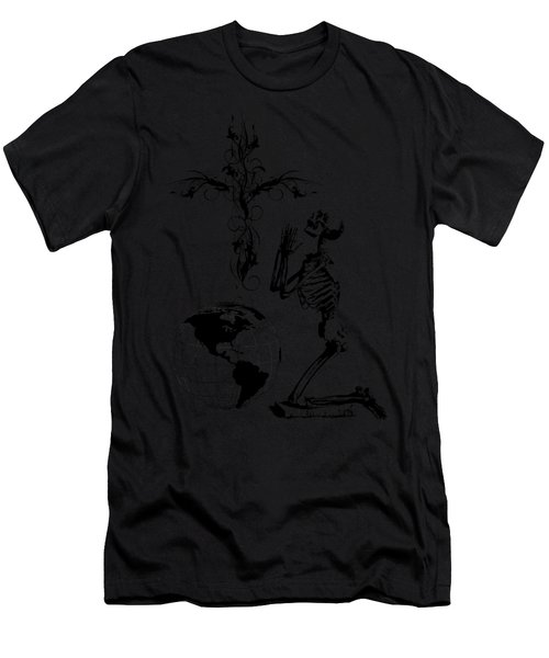 Skeleton Pryaing Cross Globe Men's T-Shirt (Athletic Fit)