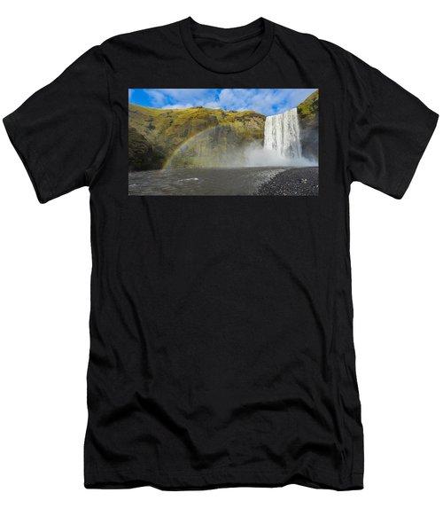 Skogafoss Rainbow Men's T-Shirt (Athletic Fit)
