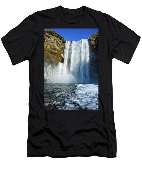 Men's T-Shirt (Slim Fit) featuring the photograph Skogafoss Waterfall Iceland In Winter by Matthias Hauser
