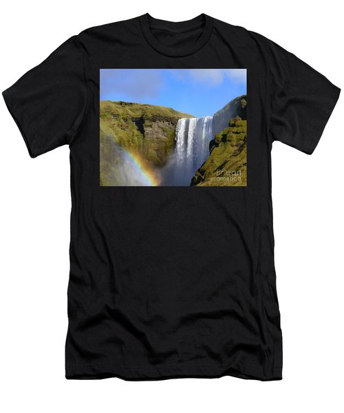Skogafoss Waterfall With Rainbow 151 Men's T-Shirt (Athletic Fit)