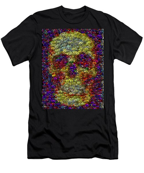 Men's T-Shirt (Slim Fit) featuring the mixed media Skull Eyeball Mosaic by Paul Van Scott