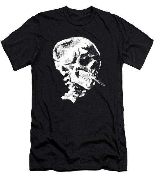 Skull Smoking A Cigarette Men's T-Shirt (Athletic Fit)