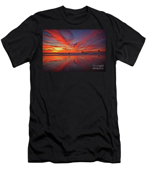 Sky On Fire At The Imperial Beach Pier Men's T-Shirt (Athletic Fit)
