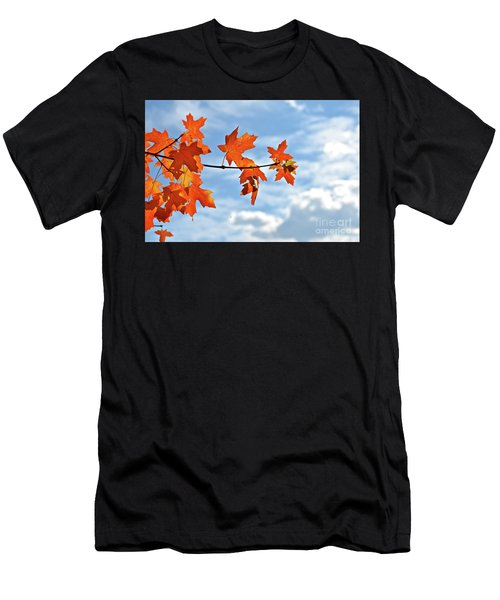 Sky View With Autumn Maple Leaves Men's T-Shirt (Athletic Fit)