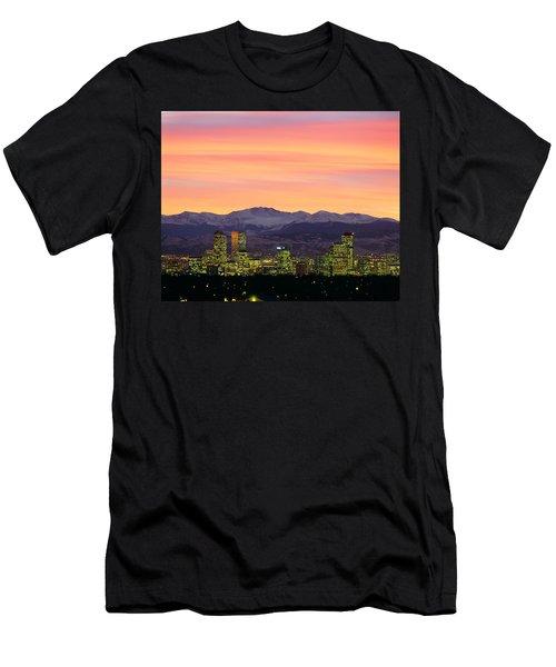 Skyline And Mountains At Dusk, Denver Men's T-Shirt (Athletic Fit)