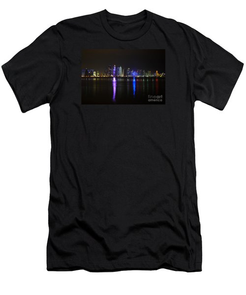 Skyline Of Doha, Qatar At Night Men's T-Shirt (Slim Fit) by IPics Photography
