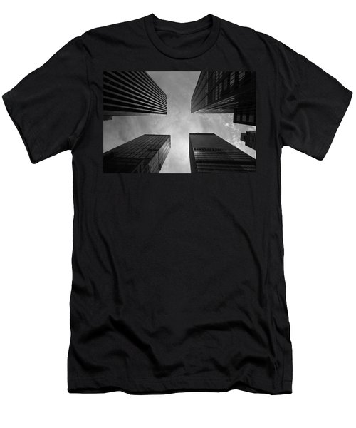 Men's T-Shirt (Slim Fit) featuring the photograph Skyscraper Intersection by Linda Edgecomb