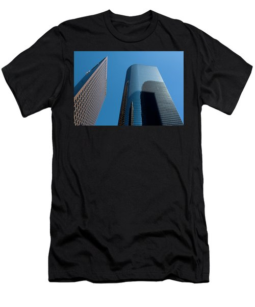 Men's T-Shirt (Athletic Fit) featuring the photograph Skyscrapers Reflect Los Angeles by Lorraine Devon Wilke