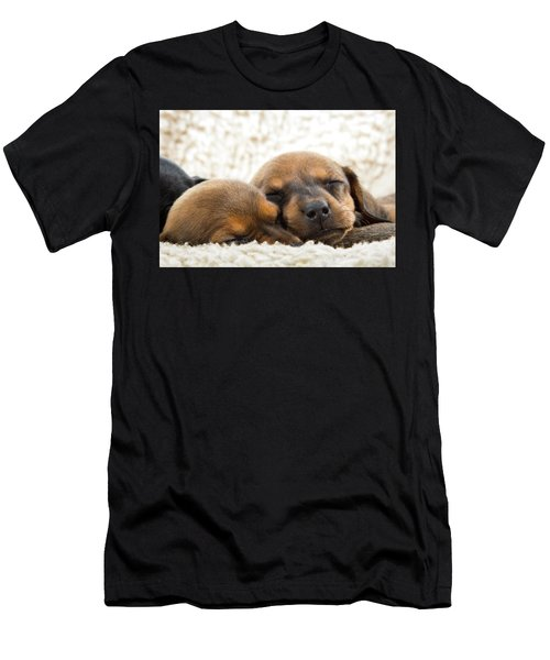 Men's T-Shirt (Athletic Fit) featuring the photograph Sleeping Dachshund Puppies by SR Green