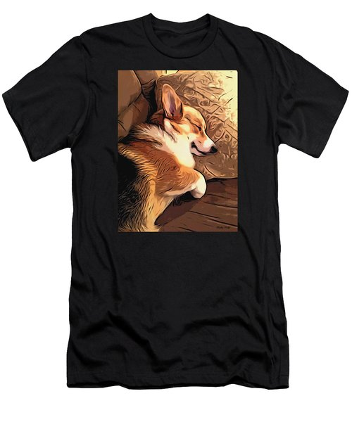 Banjo The Sleeping Welsh Corgi Men's T-Shirt (Athletic Fit)