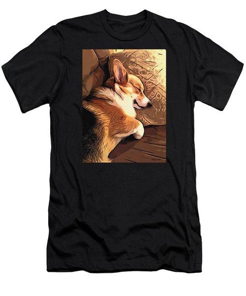 Banjo The Sleeping Welsh Corgi Men's T-Shirt (Athletic Fit)