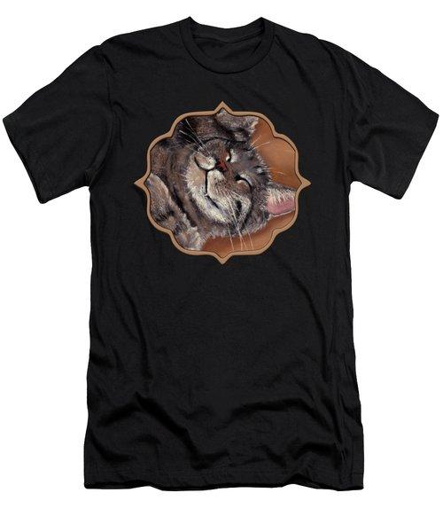 Men's T-Shirt (Athletic Fit) featuring the painting Sleepy Kitty by Anastasiya Malakhova