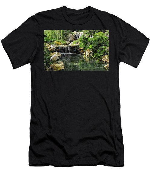 Small Creek Waterfall With Wildlife Men's T-Shirt (Athletic Fit)