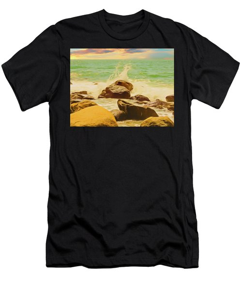 Small Ocean Waves,large Rocks. Men's T-Shirt (Athletic Fit)